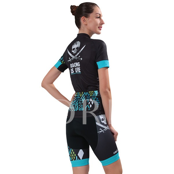 Bicycle Print Breathable Elastic Women's Cycling Suit (Plus Size Available)