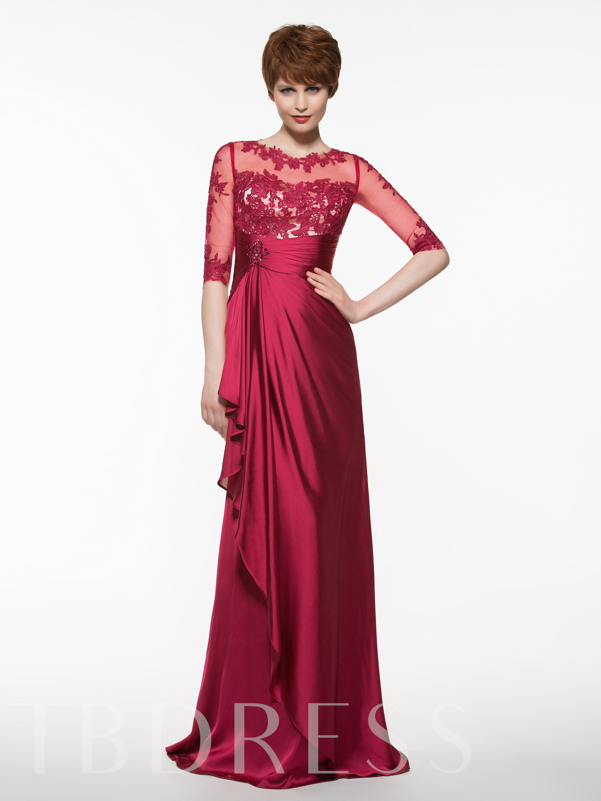 Image of Appliques Half Sleeves Mother Of The Bride Dress