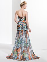 Mermaid Sweetheart Pleats Printed Brush Train Prom Dress