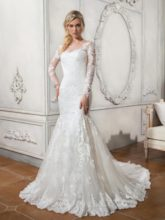Button Sheer Neck Long Sleeves Lace Wedding Dress