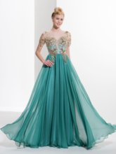 Scoop A-Line Appliques Button Sequins Prom Dress