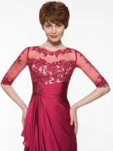 Appliques Half Sleeves Mother Of The Bride Dress