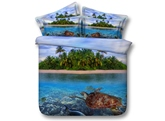 Turtle and Island Printed Cotton 3D 4-Piece Bedding Sets/Duvet Covers