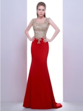 Scoop Trumpet Appliques Beading Court Train Evening Dress
