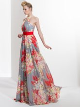 A-Line Halter Pleats Printed Sashes Sweep Train Prom Dress