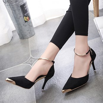Cheap Pointed Sequins Ankle Strap Women's Formal Sandals