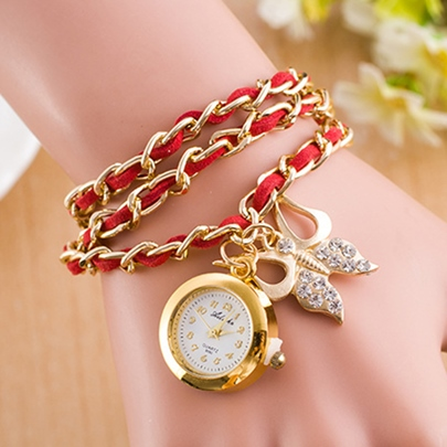 Three Layers Butterfly Pendant Bracelet Watch