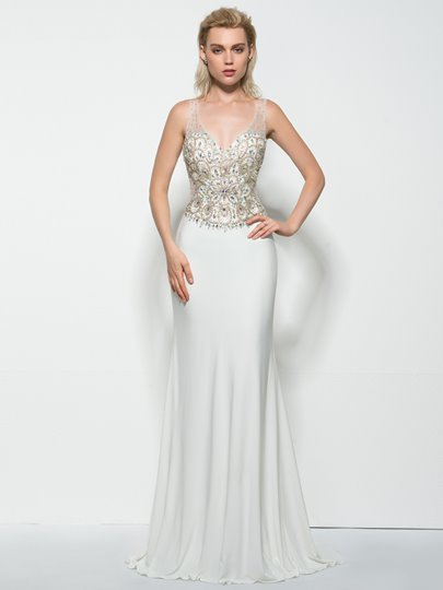 Sheath V-Neck Beading Sweep Train Prom Dress
