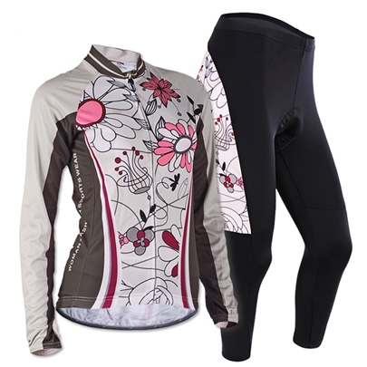 Slim Flower-Print Women's Cycling Suits
