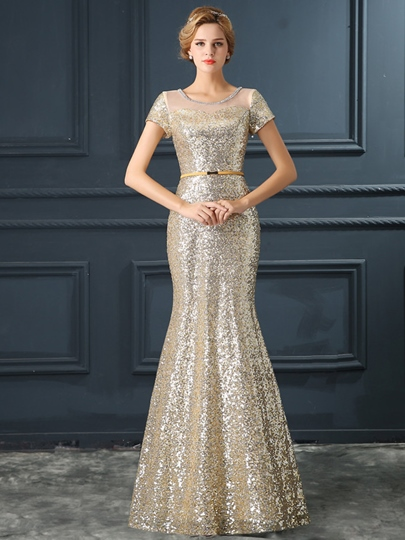 Mermaid Scoop Short Sleeves Sequins Long Evening Dress
