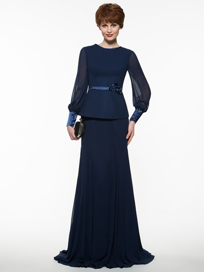 Scoop Neck Long Sleeves Flower Sheath Mother Of The Bride Dress