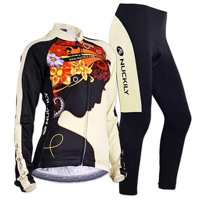 Form-Fitting Black Flower Women's Cycling Suits