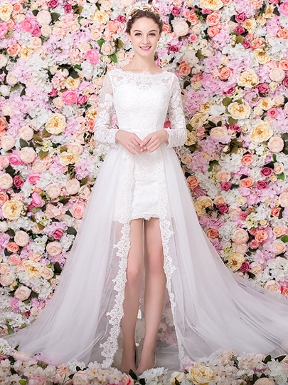 Scoop Neck Long Sleeves Lace Sheath Beach Wedding Dress