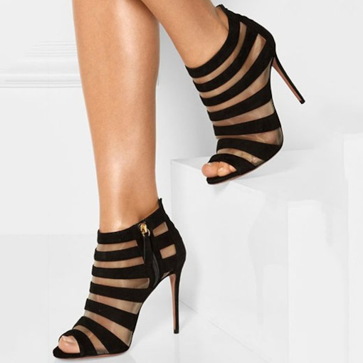 Open Toe Side Zipper Patchwork Suede Stiletto Heel Sandals