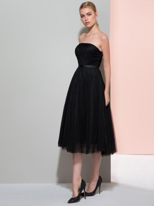 A-Line Strapless Pleats Sashes Tea-Length Cocktail Dress