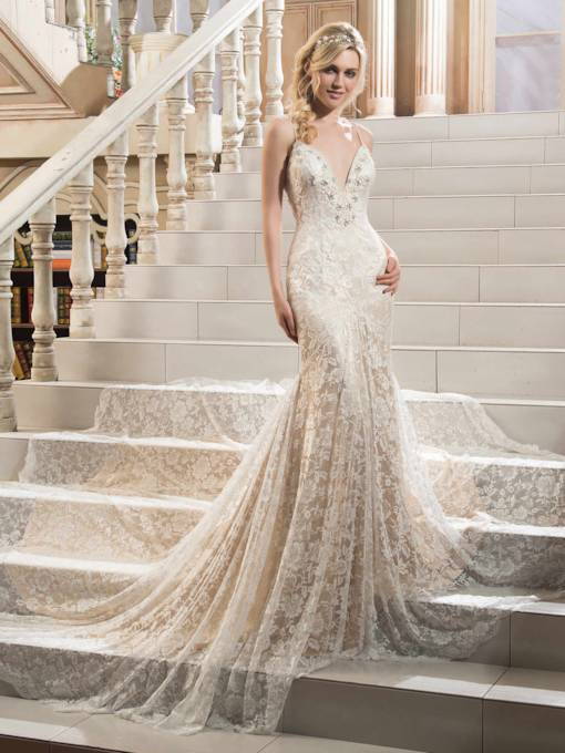 V-Neck Spaghetti Strap Lace Beading Mermaid Court Train Wedding Dress