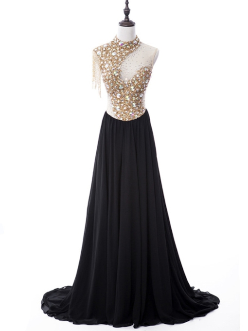 A-Line High Neck Beading Rhinestone Sequins Court Train Evening Dress