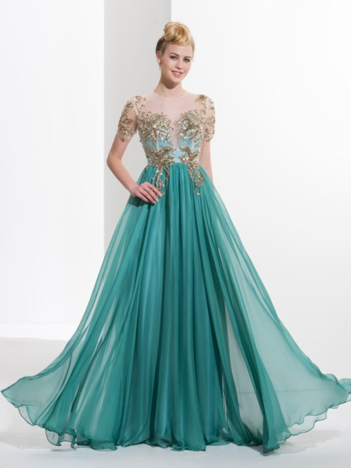 0efaff7202 Scoop A-Line Appliques Button Sequins Prom Dress
