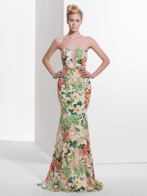 Trumpet Strapless Printed Sweep Train Prom Dress