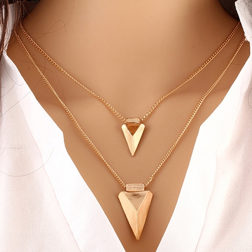Double Layers Golden Triangle Pendant Necklace