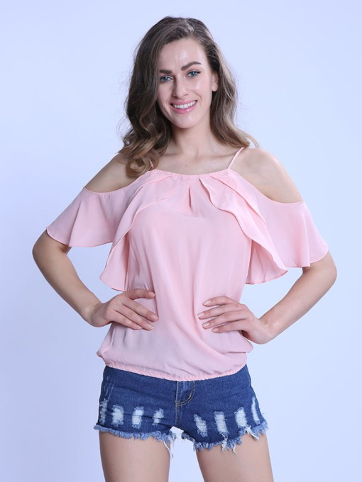 Pleated Off Shoulder Plain Short Sleeve Chiffon Women's Blouse