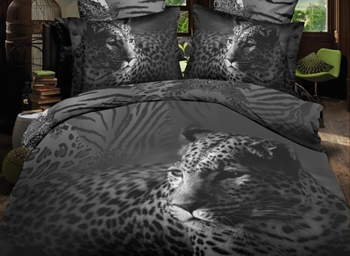 Black Close-Up Leopard Print Polyester 3D Bedding Sets /Duvet Covers