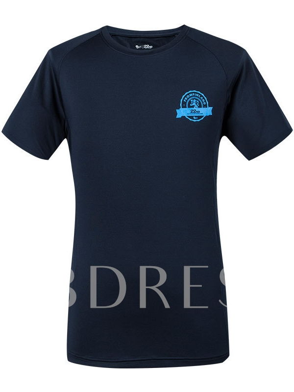 Men's Solid Color Round Collar Breathable Leisure Short Sleeve T-shirt