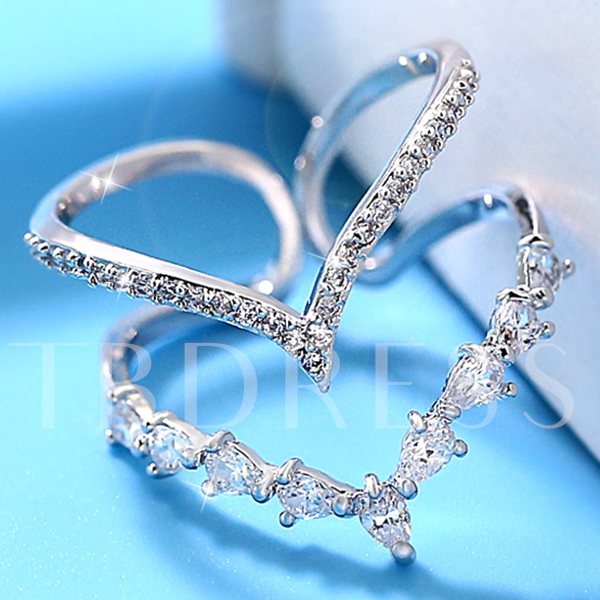 Double Layers Water Drop Shaped Rhinestone Beading Ring