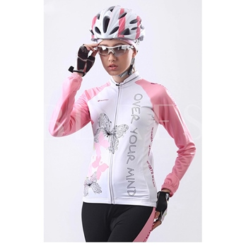 Young Butterfly-Print Pink Women's Cycling Jersey