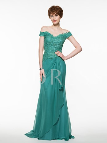 Off-The-Shoulder Lace Sheath Mother Of The Bride Dress
