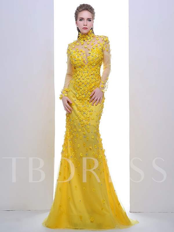 Buy A-Line High Neck Long Sleeves Rhinestone Evening Dress, Spring,Summer,Fall,Winter, 12200350 for $202.85 in TBDress store