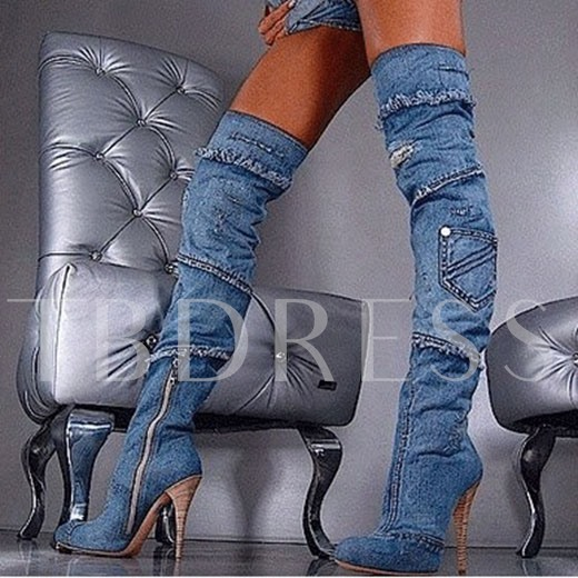 Round Toe Over-the-Knee Stiletto Heel Side Zipper Women's Boots