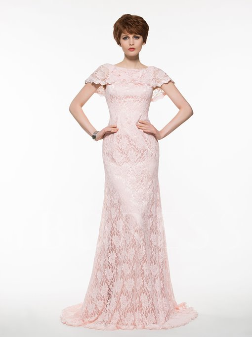 Cap Sleeves Scoop Neck Lace Sheath Mother Of The Bride Dress
