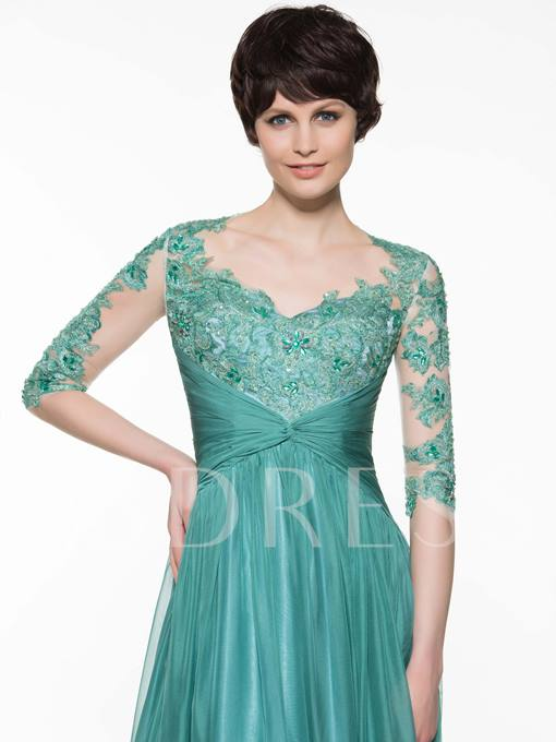 Half Sleeves Appliques Mother Of The Bride Dress