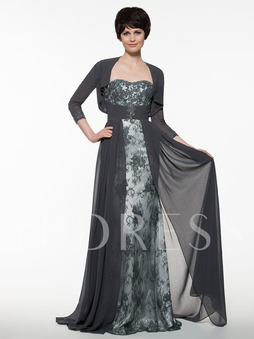 Appliques Long Mother Of The Bride Dress With Jacket