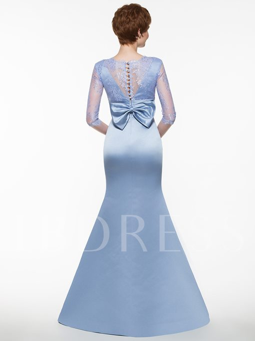 Half Sleeves Lace Mermaid Mother Of The Bride Dress
