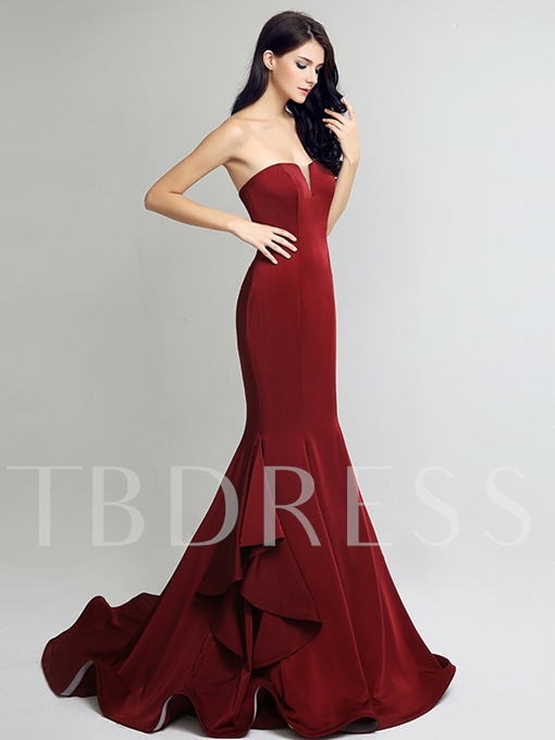 Mermaid Sweetheart Pick-Ups Court Train Evening Dress