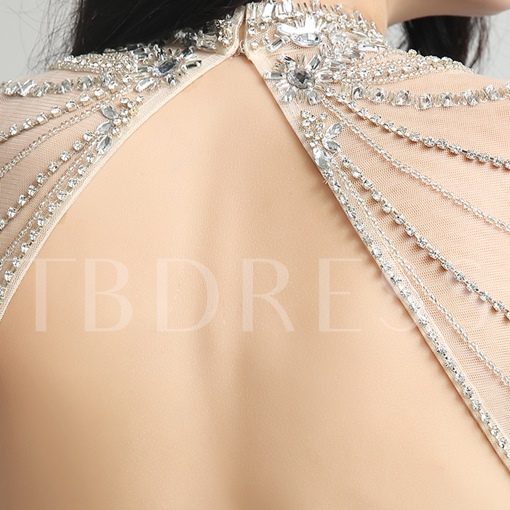 High Neck Rhinestone Sheath Backless Beading Evening Dress