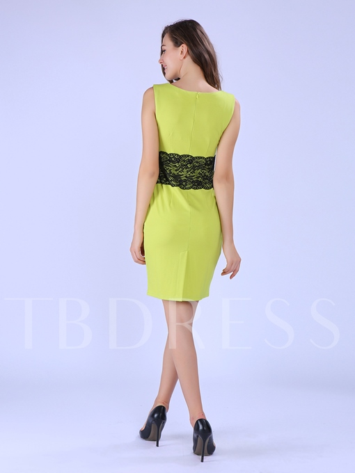 Sleeveless Lace Patchwork Pencil Women's Sheath Dress