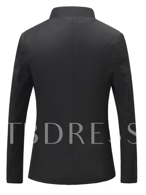 Men's Solid Color Blazer with Stand Collar
