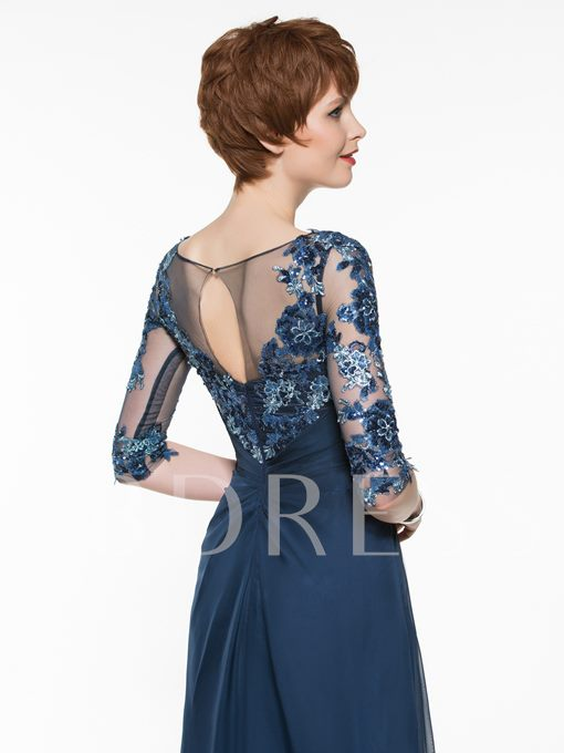 Scoop Neck Half Sleeves Appliques Mother Of The Bride Dress