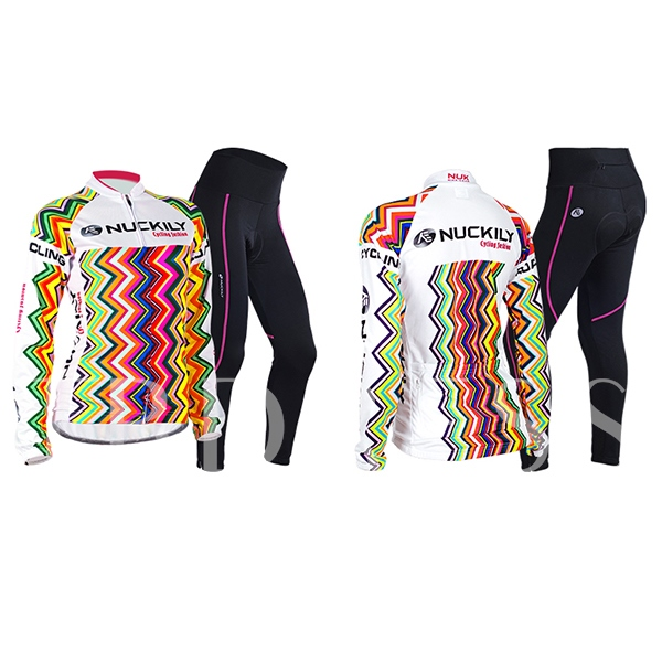 Polyester Elastic Waved Long Sleeve Women's Cycling Jersey