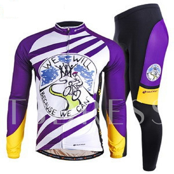 Letters-Print Full-Zip Cycling Suits
