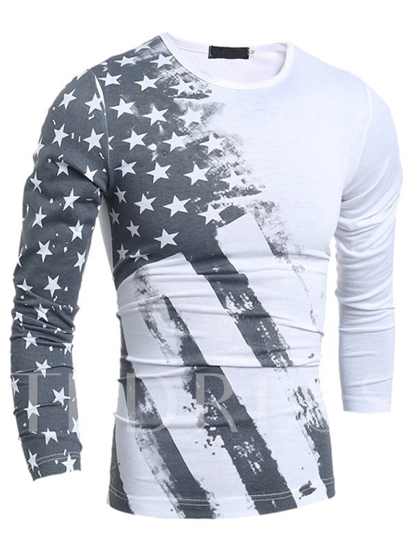 Men's American Flag Print T-shirt with Long Sleeve