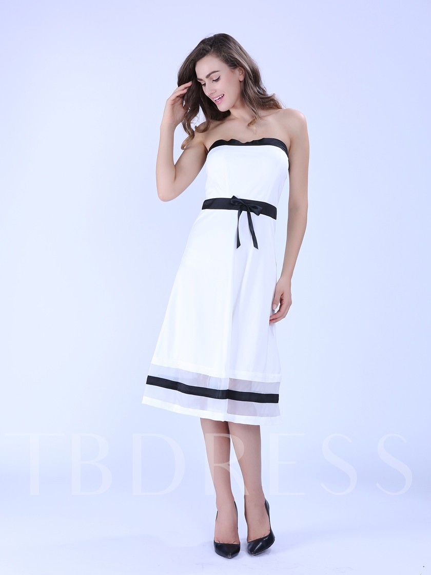 White Strapless Knot Decorated Women's Day Dress (Plus Size Available)