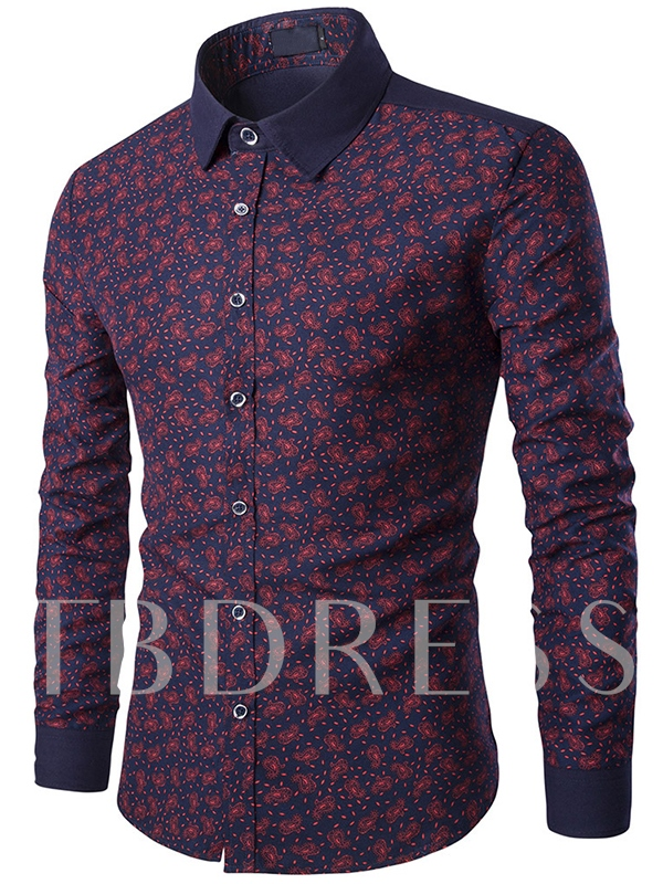 Men's Two-tone Long Sleeve Shirt with Florals