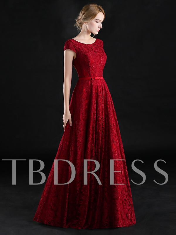 A-Line Scoop Cap Sleeves Bowknot Lace Long Evening Dress
