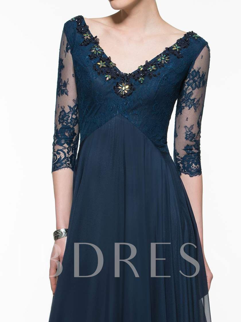 Beading Sleeves Lace Mother of the Bride Dress