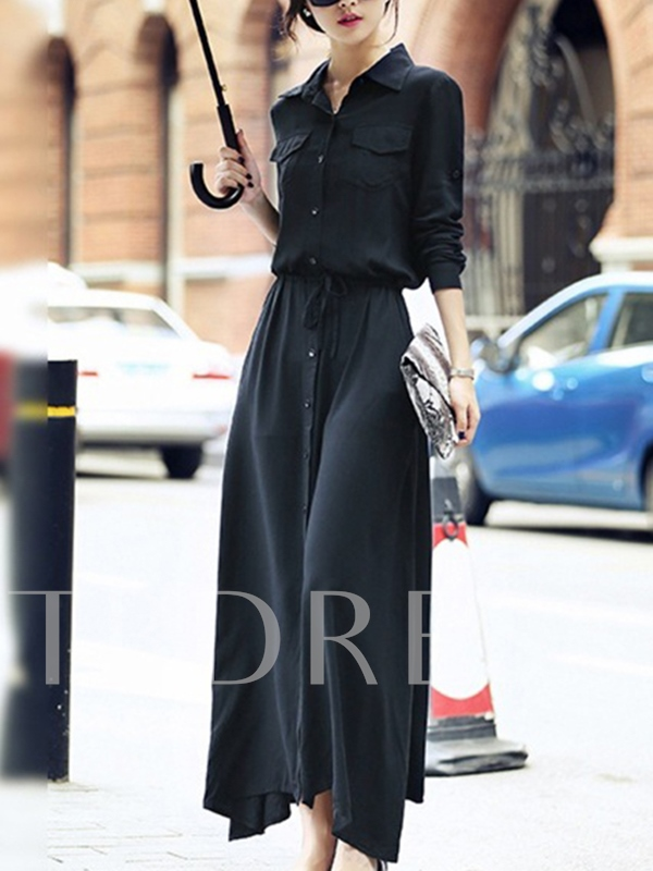 Black Single-Breasted Lace up Women's Maxi Dress