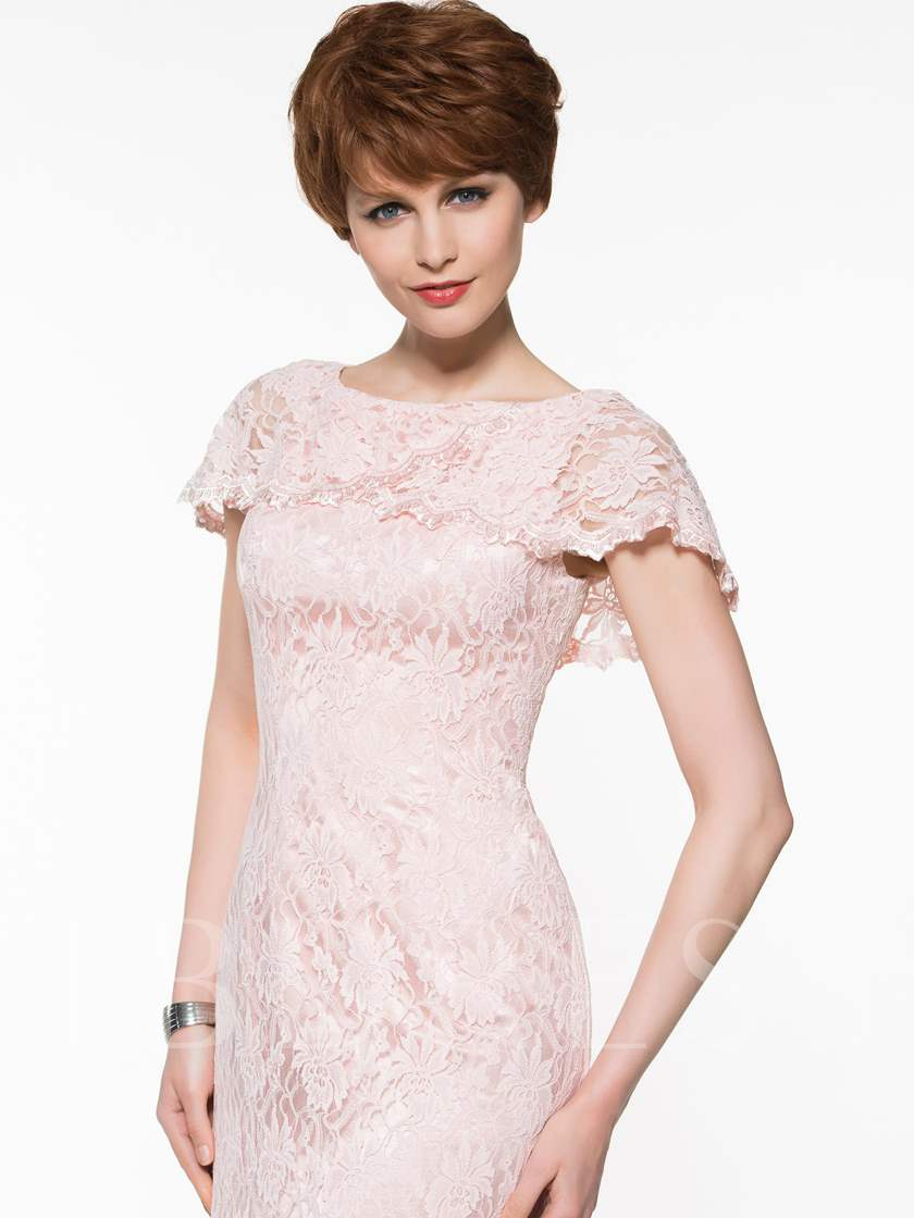 Cap Sleeve Lace Sheath Mother Of The Bride Dress